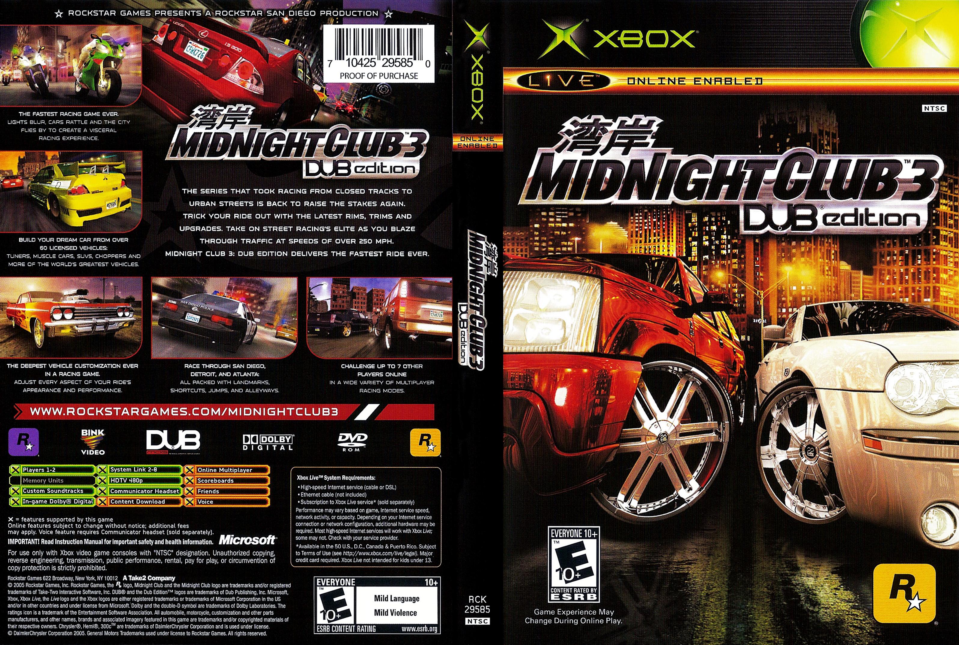 Midnight Club  Dub Edition Car List